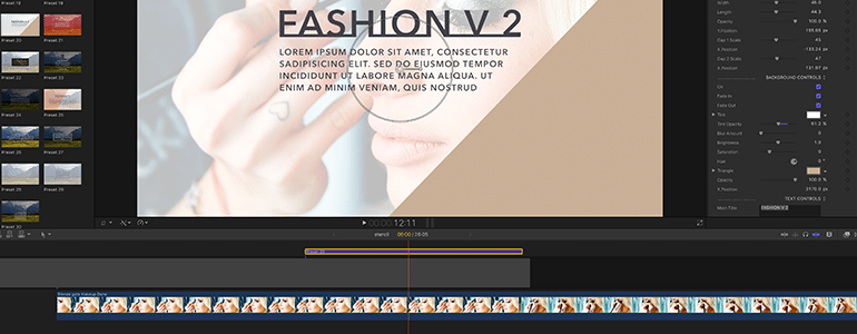 Final Cut Pro X Plugin ProParagraph: Fashion Fashion Volume 2 from Pixel Film Studios