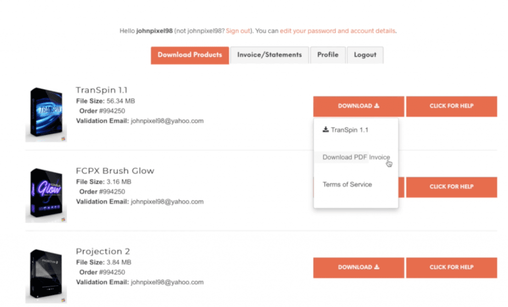 invoice 1 for help page