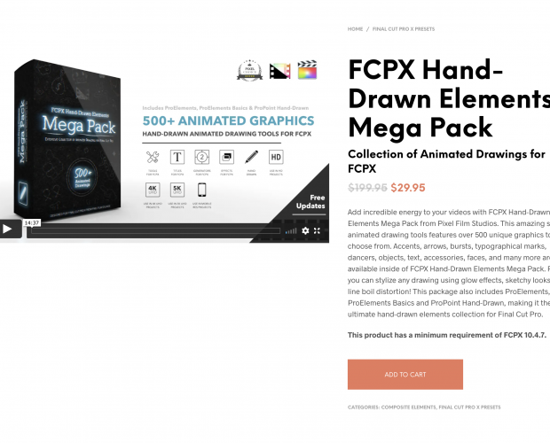 Cover image for the FCPX Hand Drawn Elements Mega Pack from Pixel Film Studios