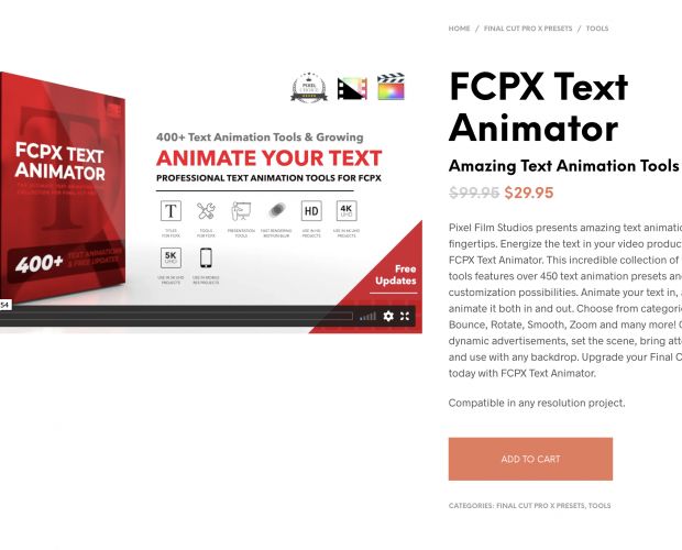 Cover image for FCPX Text Animator from Pixel Film Studios
